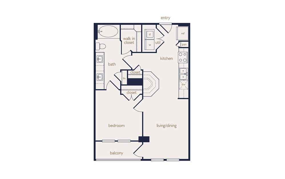 a1a - 1 bedroom floorplan layout with 1 bath and 634 square feet.