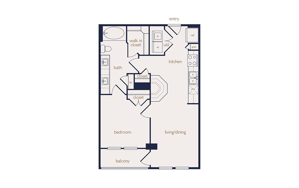 a1b - 1 bedroom floorplan layout with 1 bath and 632 square feet.