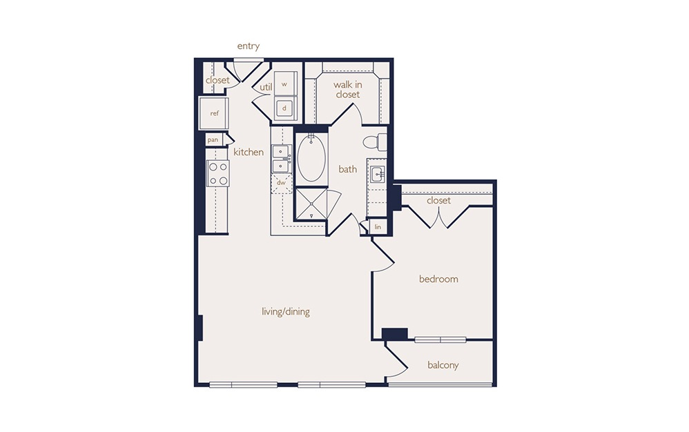 a4b - 1 bedroom floorplan layout with 1 bath and 695 square feet.