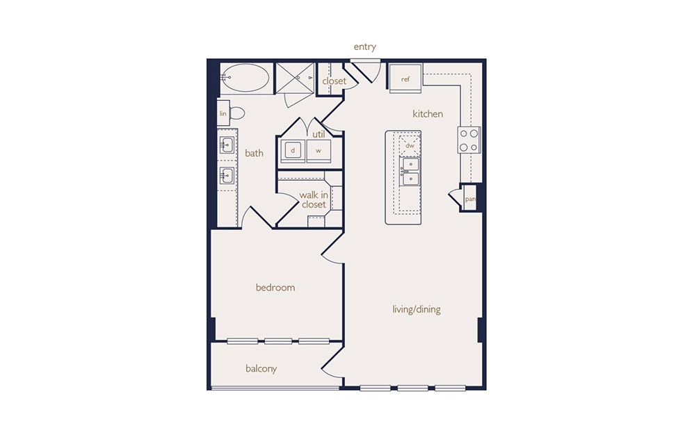 a5a - 1 bedroom floorplan layout with 1 bath and 770 square feet.