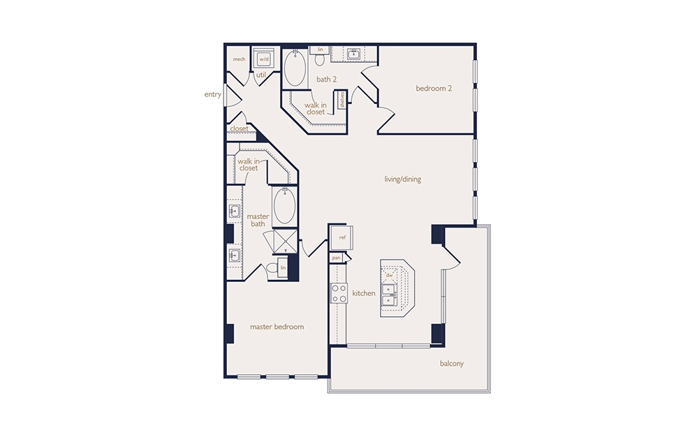 b2 - 2 bedroom floorplan layout with 2 baths and 1250 square feet.
