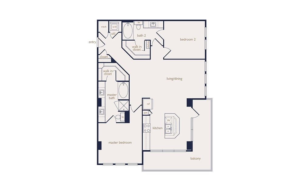 b2a - 2 bedroom floorplan layout with 2 baths and 1102 square feet.
