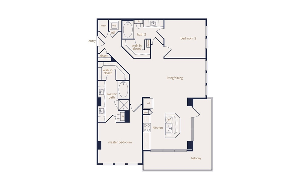 b2b - 2 bedroom floorplan layout with 2 baths and 1251 square feet.