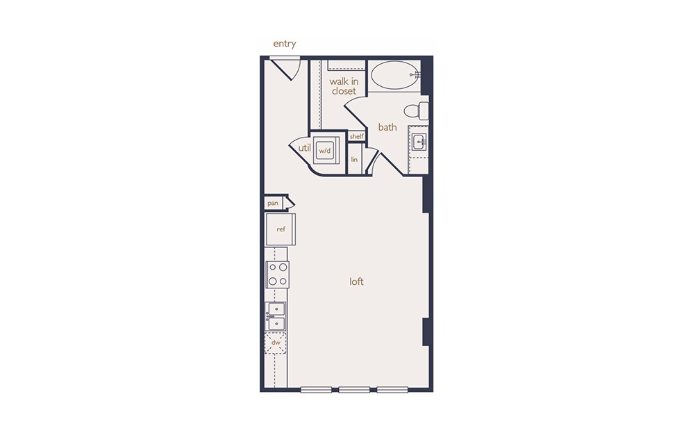 e1a - Studio floorplan layout with 1 bath and 461 square feet.