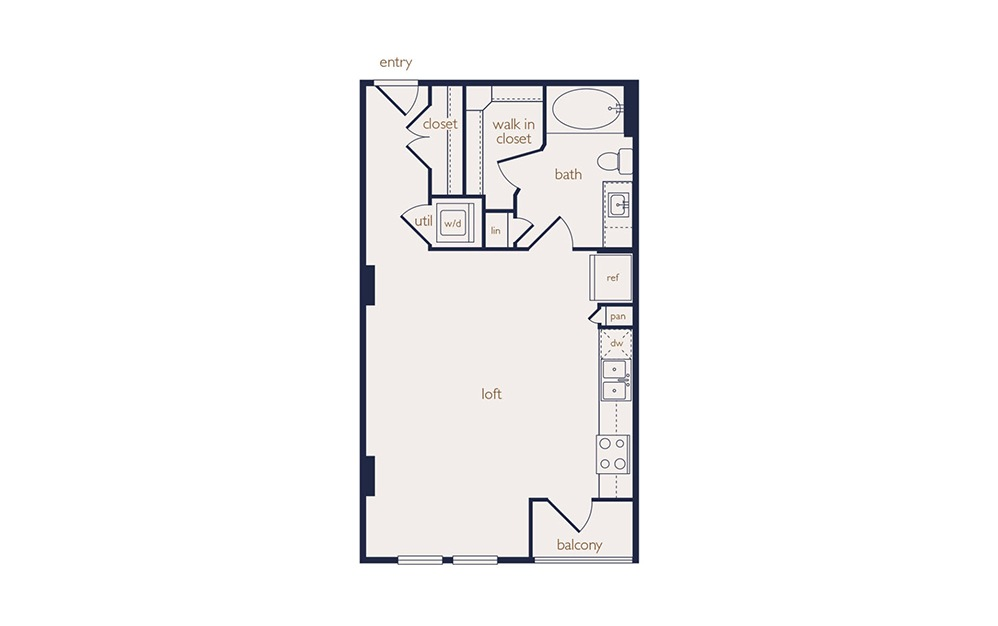 e2 - Studio floorplan layout with 1 bath and 569 square feet.