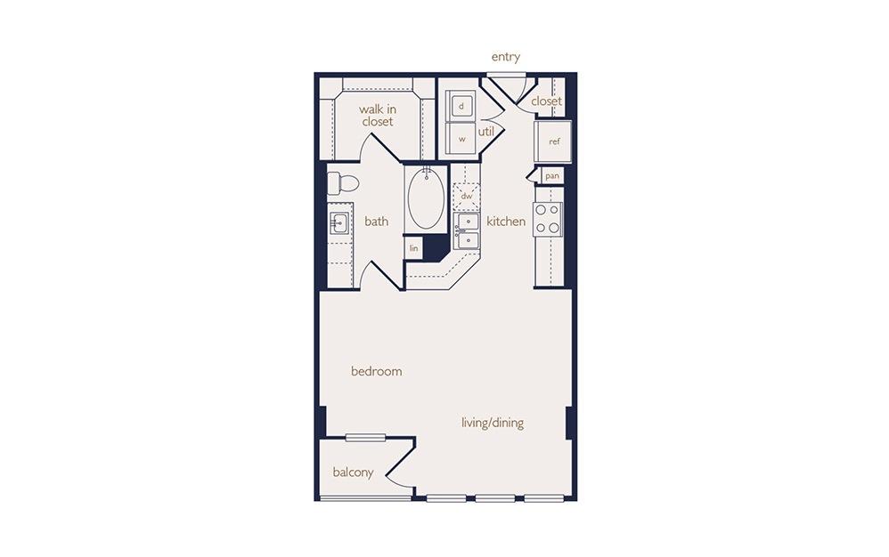 e6 - Studio floorplan layout with 1 bath and 602 square feet.