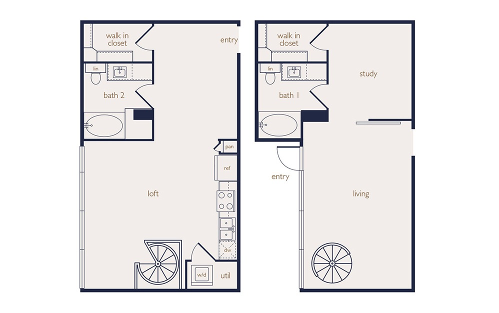 townhouse 1 - 1 bedroom floorplan layout with 2 baths and 1215 square feet.