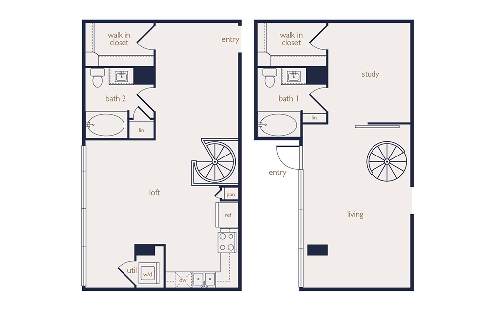 townhouse 1a - 1 bedroom floorplan layout with 2 baths and 1215 square feet.
