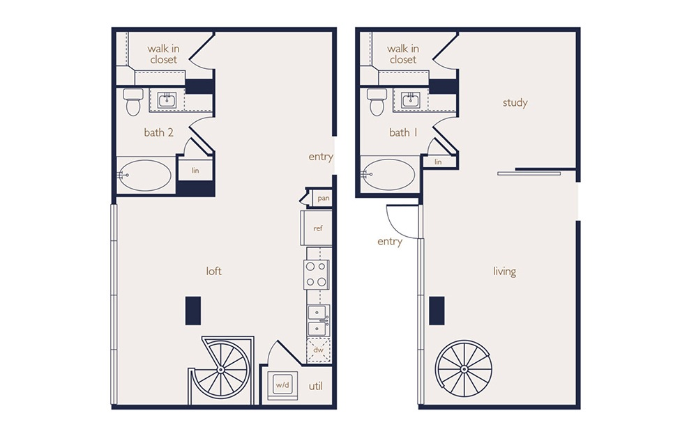 townhouse 1b - 1 bedroom floorplan layout with 2 baths and 1216 square feet.